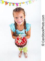 pastel, niña, cumpleaños