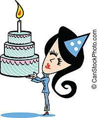 pastel, niña, cumpleaños, arte, clip