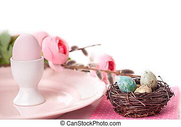 pastel, oeufs, paques, fleurs