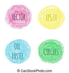 pastel, olie, ontwerp, ronde, elements.