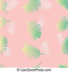 pastel palm leaf pattern on pink background