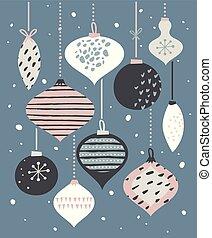 pastel, pelotas, plantilla, cartel, ilustración, retro, feliz navidad, tarjeta, colors.