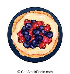 pastel, pequeño, tartlet, servido, placa, ilustración, ...