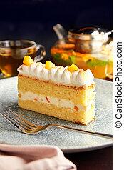 pastel, piña, cream., azotado, pedazo