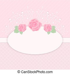 Pastel pink card with rose flowers vector illustration.