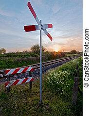 pastel, pistes, coucher soleil, ferroviaire