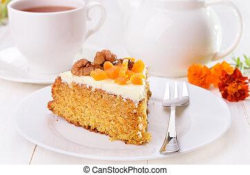 pastel, placa, blanco, zanahoria, glaseado
