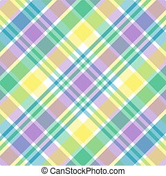 Pastel Plaid - Illustration of blue, green, purple and...