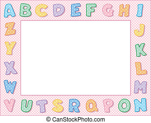 pastel, pois, alphabet, cadre