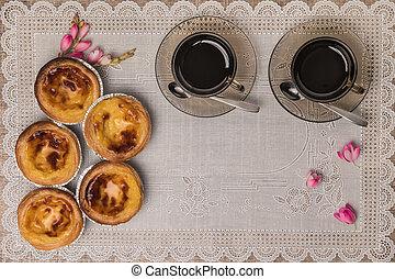 pastel, portugués, de, nata, lisboa, tarta, huevo, típico, pasteles