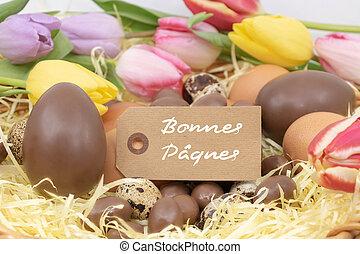 pastel, p?ques, tulipes, oeufs, (bonnes, chocolat,...
