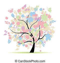 pastel, printemps, arbre, ton, couleurs, stylique floral