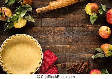 pastel, proceso, pastel, dough., manzana, cocina