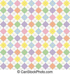 Illustration of pastel rainbow colored argyle pattern