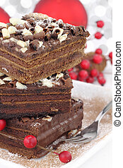 pastel, rebanadas, navidad, chocolate