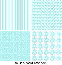 pastel, retro, diferente, vector, seamless, patrones
