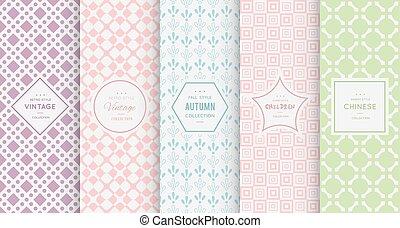 Pastel retro different vector seamless patterns - Retro...