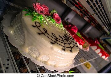 pastel, rosas, decorar, bisquit
