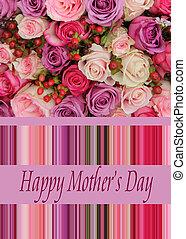 pastel, rose, jour, carte, mère