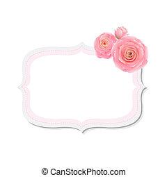 pastel, rose kwam op, etiket