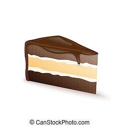 pastel, sabroso, chocolate