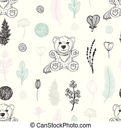 Pastel seamless pattern with hand drawn teddy bear and flowers. Cute doodle background