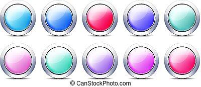 pastel, set, knopen, kleur, metaal, grens, pictogram