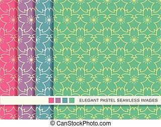 pastel, set, schets, blossom , kers, seamless, bloem, achtergrond