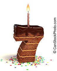 pastel, siete, formado, número, chocolate