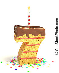 pastel, siete, número, formado