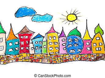 Pastel sketch of colorful town - Pastel sketch of colorful...