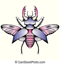 Pastel stag beetle drawing. Nice and beautiful hand-drawn vector illustration