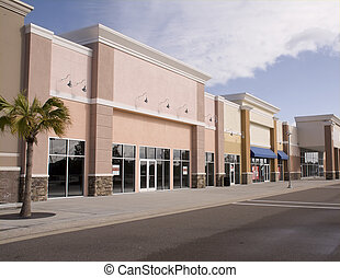 pastel storefront mall