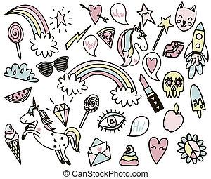 pastel, styl, zabawny, komplet, konserwator, stickers., ...