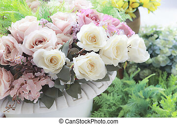 pastel, style, arrangé, couleur, vendange, usage, décoration, bouquet, fond, temps, maison, fleurs blanches, événement, bonheur, roeses