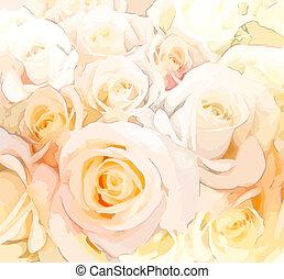 pastel, stylisé, roses, couleurs, fond, floral