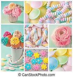 Pastel sweets - Collage of photos with pastel colored sweets...