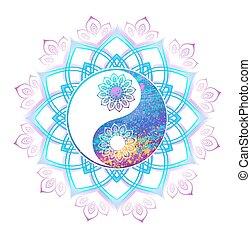 pastel, symbole, yang yin