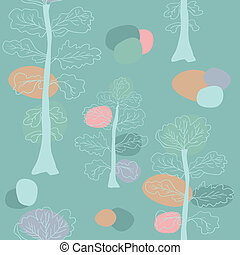 Pastel trees seamless pattern.