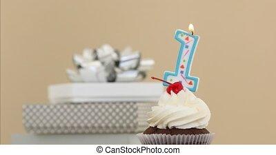 pastel, une, 1, fond, bougie, petit gâteau