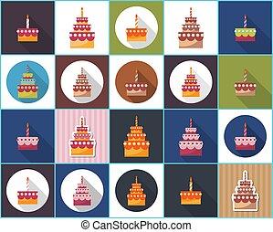 pastel, vector, cumpleaños, icon., plano