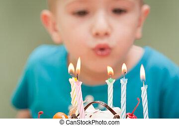 pastel, vela, cumpleaños