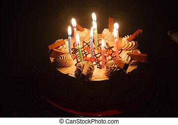 pastel, vela, cumpleaños, luz