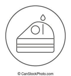 pastel, vela, línea, rebanada, icon.