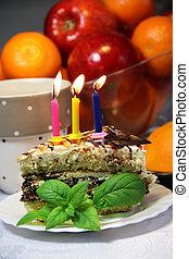 pastel, velas, cumpleaños, abrasador
