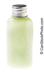 pastel, verde, isolado, garrafa, loção