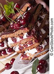 pastel, vertical, chocolate, pedazo, cereza, macro.