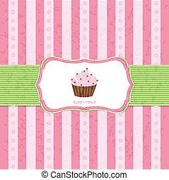 Pastel Vintage Cupcake Background With Gradient Mesh, Vector...