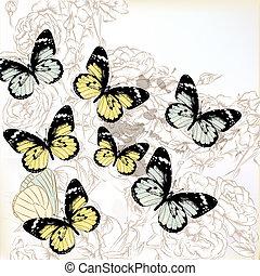 pastel, vlinder, vector, achtergrond, rozen