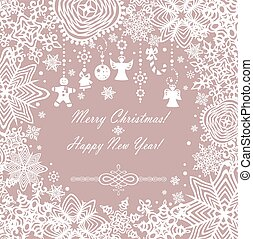 Pastel xmas card with paper snowfla